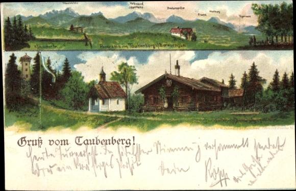 Litho Warngau in Oberbayern, Panorama vom Taubenberg, Aussichtsturm, Gasthaus