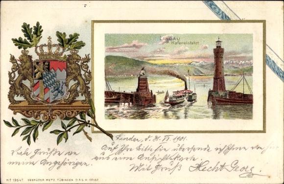 Präge Wappen Litho Lindau am Bodensee, Leuchtturm an der Hafeneinfahrt, Löwe, Dampfer