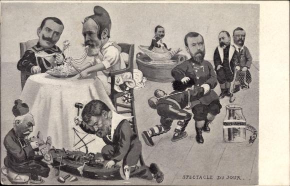 Künstler Ak Spectacle du Jour, Émile Loubet, Viktor Emanuel, Georg V., Roosevelt, Wilhelm II.