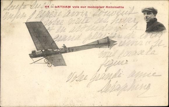 Ak Latham vole sur monoplan Antoinette, Französischer Flugpionier
