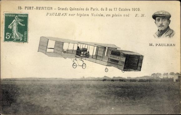 Ak Paris, Port Aviation, Grande Quinzaine, 8-17. Octobre 1909, Paulhan, Biplan Voisin