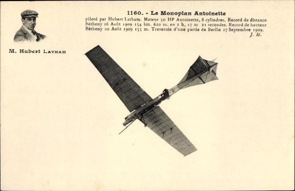 Ak Monoplan Antoinette, Hubert Latham, Flugpionier