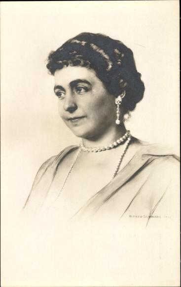 Künstler Ak Schwarz, Alfred, Kaiserin Hermine von Reuss, Portrait, Zweite Frau Wilhelm II., Portrait