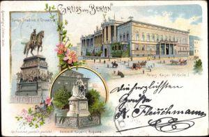 Jugendstil Litho Berlin Mitte, Palais Kaiser Wilhelm I., Denkmal Friedrich des Großen