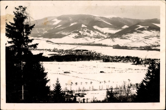 Ak Velké Losiny Groß Ullersdorf Altvatergebirge Reg. Olmütz, Totalansicht, Ort im Winter