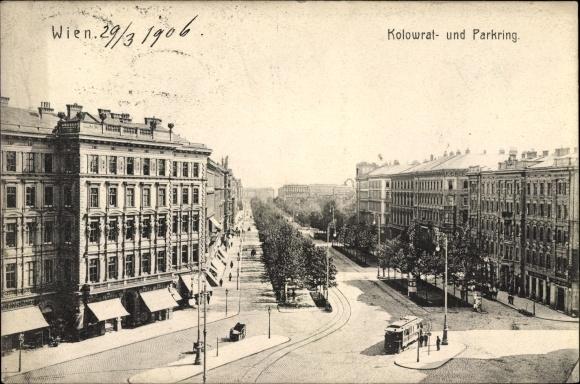 Ak Wien, Kolowrat- und Parkring, Straßenpartie