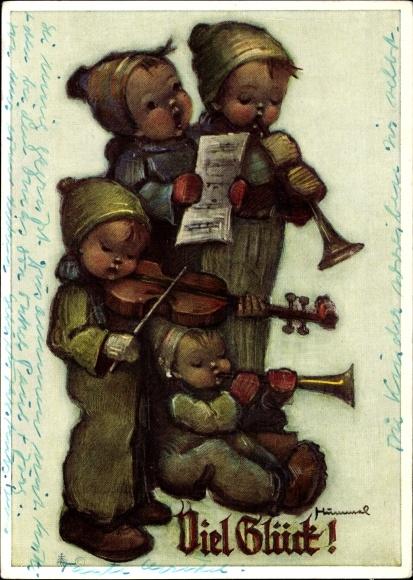 Künstler Ak Hummel, Berta, Viel Glück, Musizierende Kinder, Nr. 5612
