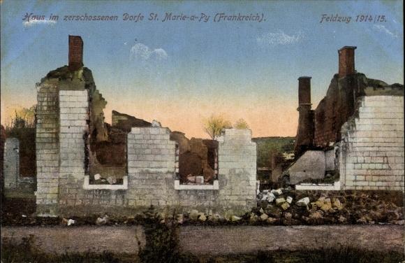 Ak Sainte Marie à Py Marne, Hausruinen, Kriegszerstörungen, I. WK