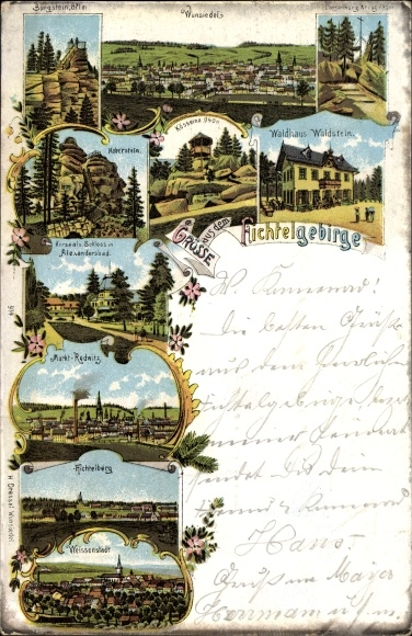 Litho Wunsiedel im Tal der Röslau Oberfranken, Fichtelgebirge, Waldhaus Waldstein, Fichtelberg