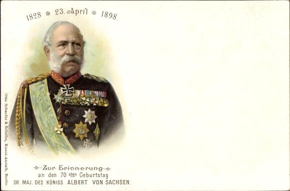 Litho König Albert von Sachsen, 70. Geburtstag am 23. April 1898, Portrait