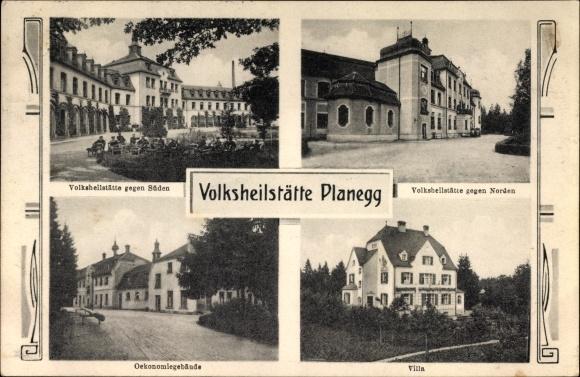 Ak Planegg Oberbayern, Volksheilstätte gegen Süden und gegen Norden, Ökonomiegebäude, Villa