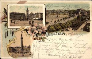 Litho Darmstadt in Hessen, Ernst Ludwigsplatz, Ludwigsmonument, Platz, Weißer Turm