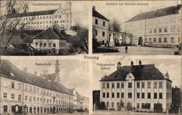 Ak Freising, Schullehrerseminar, Domhof mit Klerikal-Seminar, Realschule, Präparandenschule