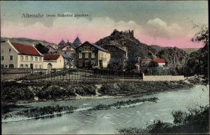 Ak Altenahr im Kreis Ahrweiler Rheinland Pfalz, Teilansicht vom Bahnhof gesehen, Hotel zur Post