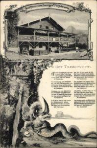 Ak Oberaudorf im Kreis Rosenheim Oberbayern, Blick auf das Gasthaus zum feurigen Tatzelwurm, Drache
