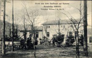 Ak Kersdorfer Schleuse Briesen Mark, Gasthaus zur Kanone, Postbote mit Fahrrad