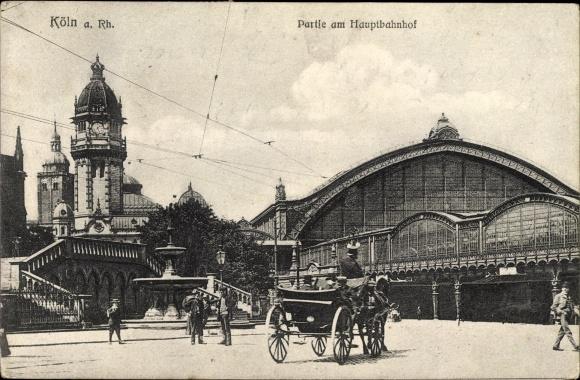 Ak Köln am Rhein, Partie am Hauptbahnhof, Pferdekutsche, Brunnen