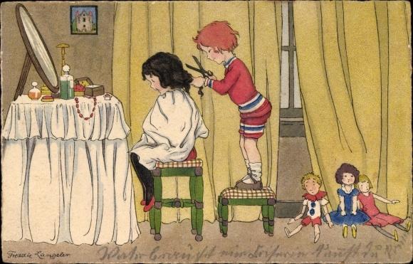 Künstler Ak Langeler, Freddie, Kinder, Haare schneiden, Puppen, Meissner & Buch Nr 2754