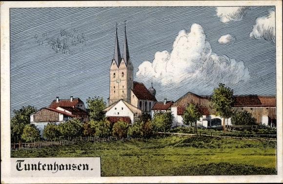 Künstler Ak Felle, Eugen?, Tuntenhausen im Kreis Rosenheim Oberbayern, Blick auf die Kirche