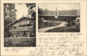 Ak Bernried im Kreis Deggendorf Niederbayern, Schloss Egg, Burgstall, Schweizerhäuschen