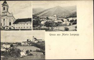 Ak Maria Langegg Niederösterreich, Kirche, Ortschaft mit Landschaftsblick