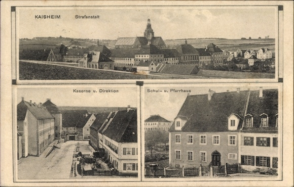 Ak Kaisheim im schwäbischen Kreis Donau Ries, Strafanstalt, Kaserne und Direktion, Schule und Pfarre