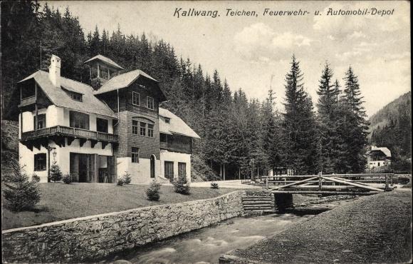 Ak Kalwang Steiermark, Teichen, Feuerwehr und Automobildepot, Kanalpartie