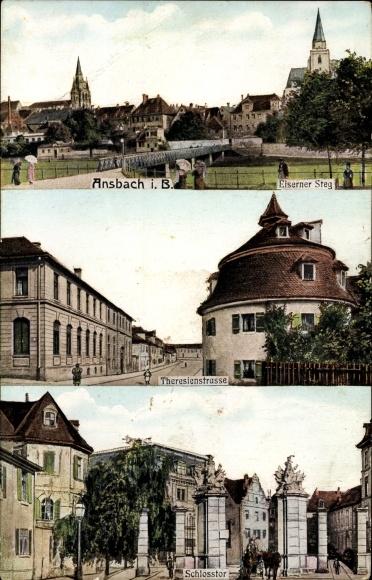 Ak Ansbach in Mittelfranken Bayern, Eiserner Steg, Theresienstraße, Schlosstor