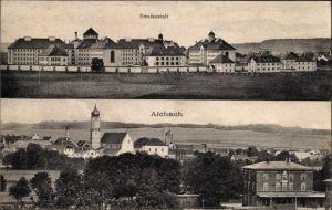 Ak Aichach in Schwaben, Teilansicht des Ortes, Ansicht der Strafanstalt