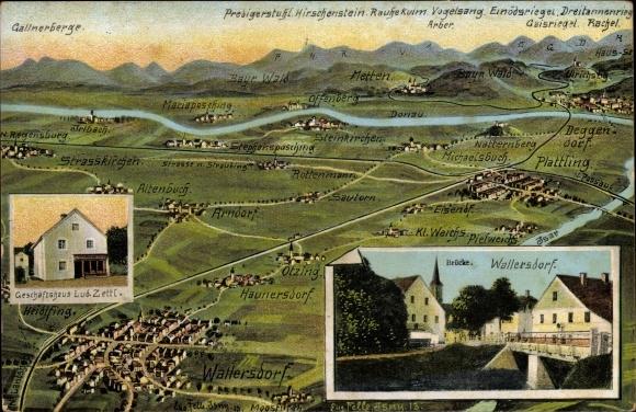 Landkarten Ak Felle, Eugen, Wallersdorf, Geschäftshaus Lud. Zettl, Gallnerberge, Deggendorf, Otzing