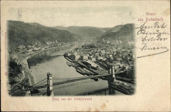 Ak Děčín Tetschen Bodenbach Elbe Reg. Aussig, Blick von der Schäferwand