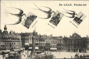 Passepartout Ak Lille Nord, Marktplatz, Mes Amitiés, Mes Pensées, Mes Tendresses, Schwalben