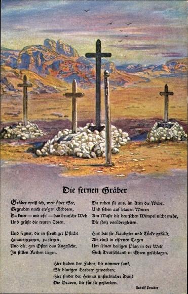 Ak Deutsche Soldatengräber in Südwestafrika, Gedicht Rudolf Presber, Kolonialkriegerdank, I. WK