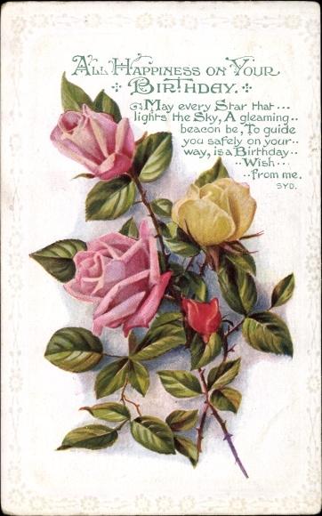 Prage Passepartout Ak Gluckwunsch Geburtstag Rosen Bluten Blumen
