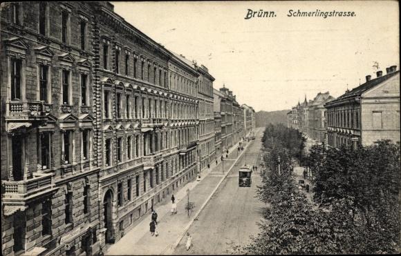 Ak Brno Brünn Südmähren, Schmerlingstraße, Gebäude, Straßenbahn