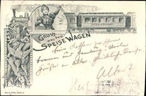 Litho Gruß aus dem Speisewagen, Deutsche Eisenbahn Speisewagen Gesellschaft