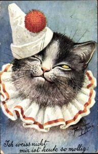 Künstler Ak Thiele, Arthur, Ich weiß nicht mir ist heute so mollig, Hauskatze, Pierrot Kostüm