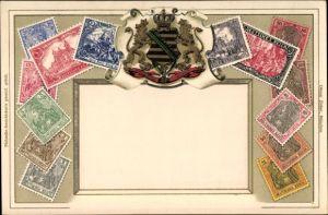 Präge Briefmarken Litho Sachsen, Deutsches Reich, Germania