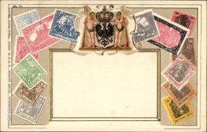 Präge Briefmarken Litho Deutsches Reich, Wilder Mann, Germania