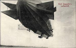 Ak Graf Zeppelin's Luftschiff, Starrluftschiff, Zeppelin über dem Bodensee