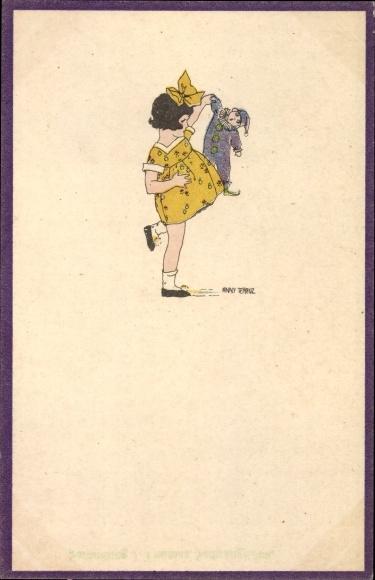 Künstler Ak Tekauz, Anny, Kleines Mädchen mit ihrer Puppe, Gelbes Kleid