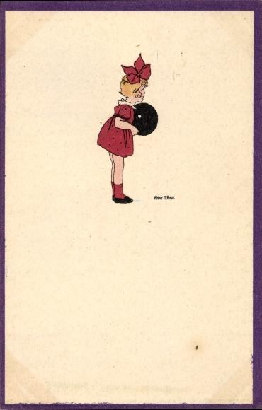 Künstler Ak Tekauz, Anny, Kleines Mädchen, Rotes Kleid