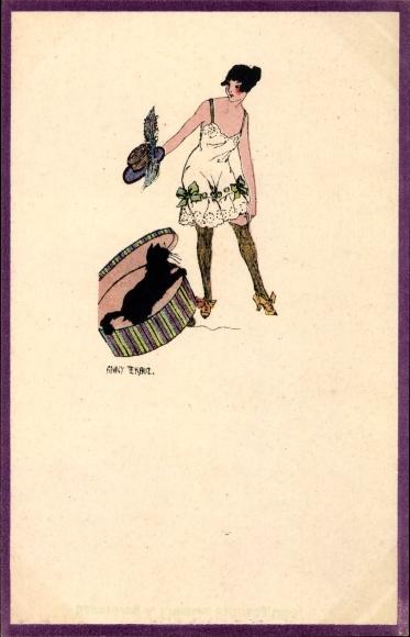 Künstler Ak Tekauz, Anny, Junge Frau in Unterhemd, Strümpfe, Hauskatze in der Hutschachtel