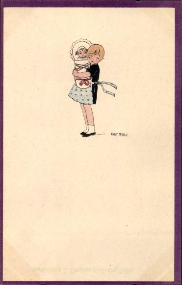 Künstler Ak Tekauz, Anny, Mädchen mit einem Kleinkind, Geschwister