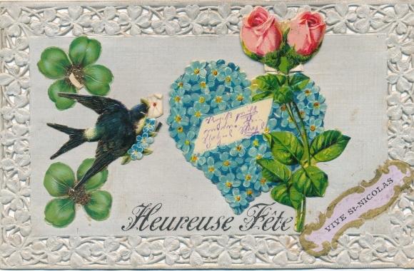 Präge Passepartout Ak Heureuse Fête, Vive St. Nicolas, Nikolaus, Schwalbe, Herz, Kleeblätter, Rose