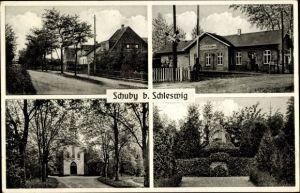 Ak Schuby in Schleswig Holstein, Straßenpartie, Bahnhof, Kirche, Denkmal