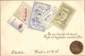 Präge Münz und Geldschein Ak Reichsmark, 20 Goldmark