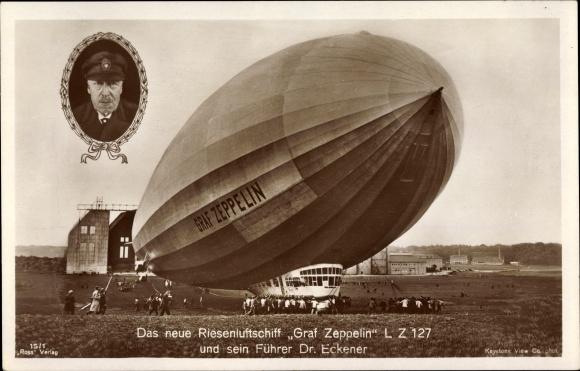 Ak Das neue Riesenluftschiff Graf Zeppelin, LZ 127, Dr. Eckener, Ross Verlag 15/1