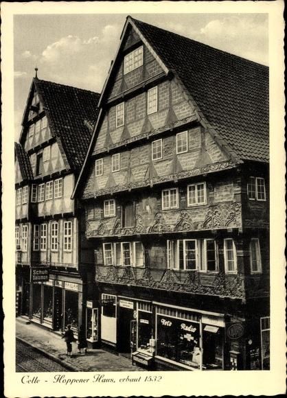 Ak Celle in Niedersachsen, Blick auf das Hoppener Haus, Geschäft Schuh Salomon