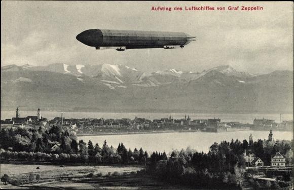 Ak Aufstieg des Luftschiffes LZ 3 von Graf Zeppelin, Bodensee